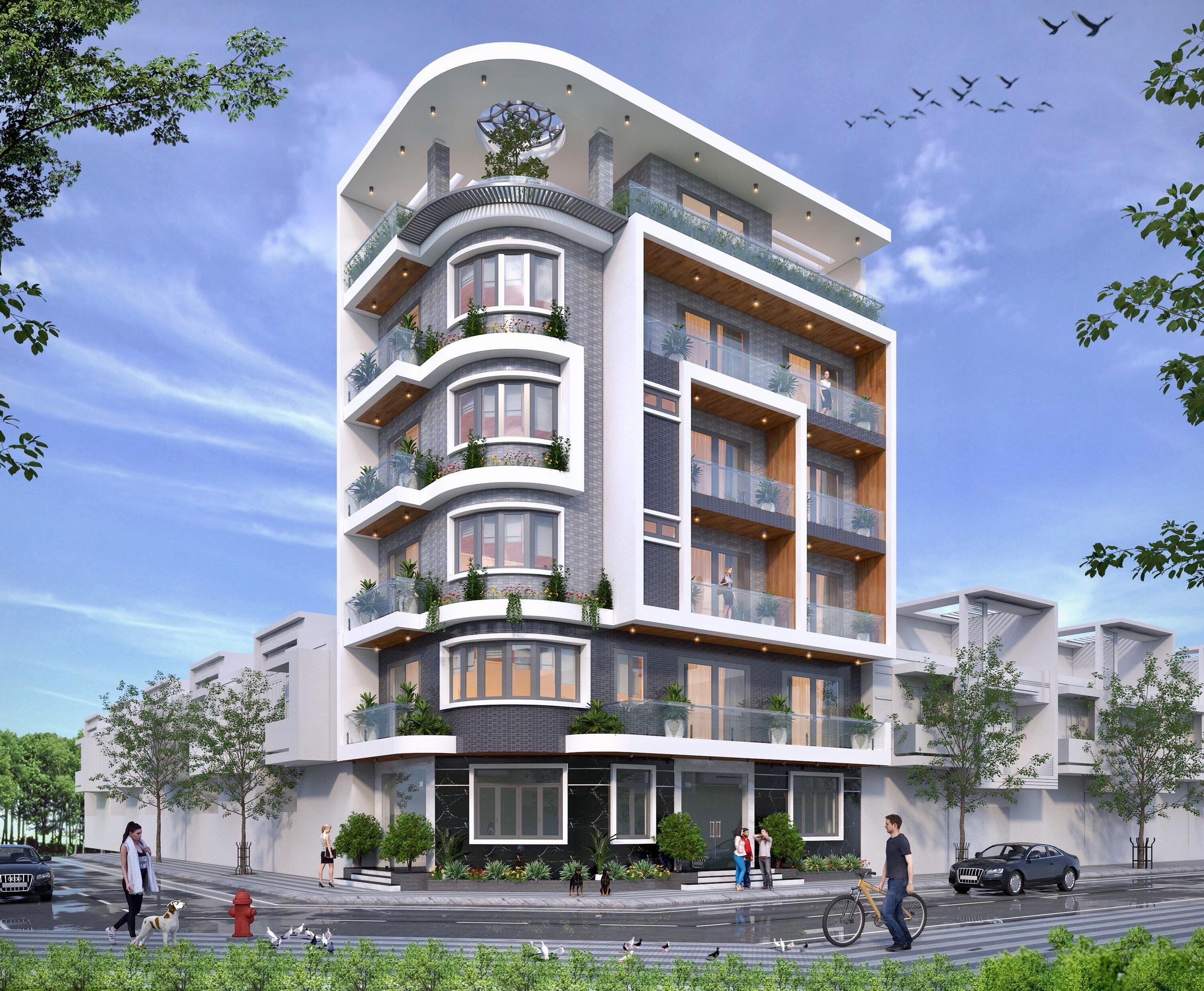 Thiết kế lô phố hiện đại 6 tầng tại Đông Anh