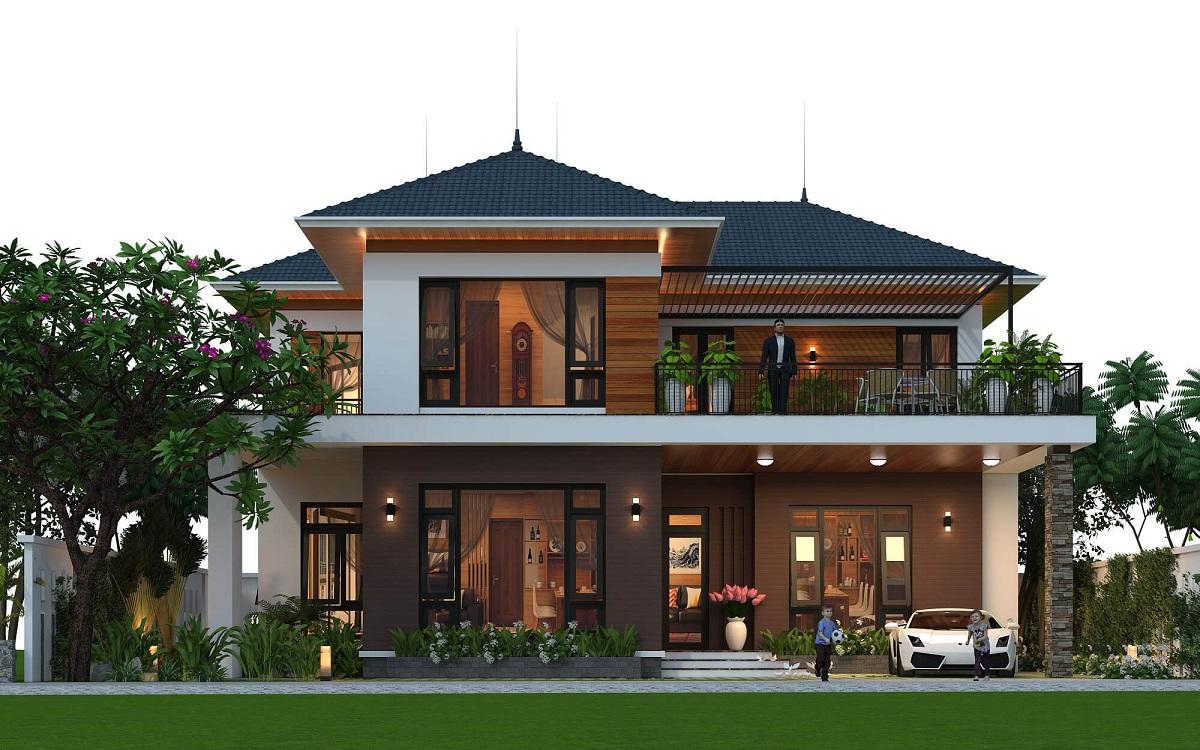 Thiết kế biệt thự 2 tầng hiện đại mái nhật đẹp mê hồn
